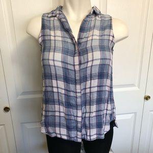 Cloth & stone plaid button front &back hi-low sz.M